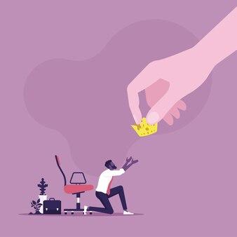 ビジネスキャリアと成功の概念のビジネスマンのイラストに黄金の王冠を与える大きな手