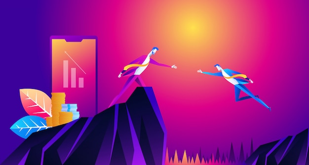 Big hand help businessman jump to goal