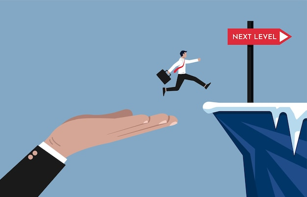 ビジネスマンがより高いレベルのビジネスとキャリアパスのイラストを達成するのを助ける大きな手。 Premiumベクター