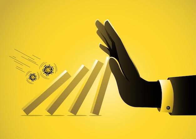 ビジネスマンの大きな手は、covid19ウイルスからの経済崩壊に陥る棒グラフを押すのを助けます