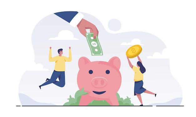 사업가의 큰 손은 동전이나 현금을 들고 돼지 저금통에 넣습니다. 돈을 절약하는 가족 커플.