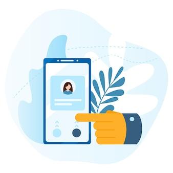 큰 손은 스마트폰 화면의 버튼을 누릅니다. 통화, 주소록, 메모장의 개념입니다. 문의 아이콘입니다. 현대 평면 벡터 일러스트 레이 션 개념, 흰색 배경에 고립.