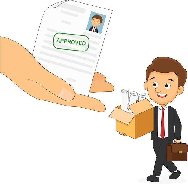 Большая рука с письмом одобрено приветствовать нового офицера на новую работу
