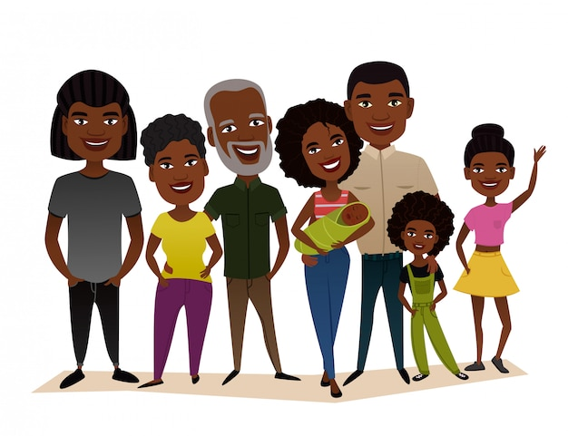 Big happy black family cartoon concept