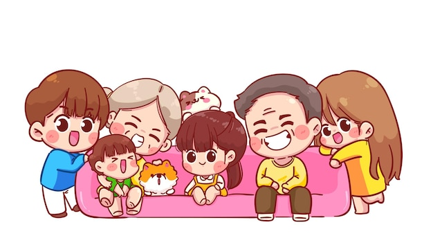 Big happy family cartoon illustration