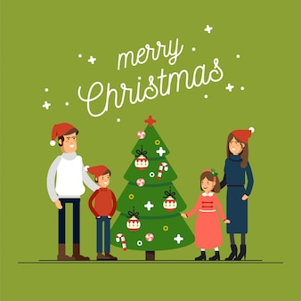 Big happy family in christmas hats have hugging greeting card