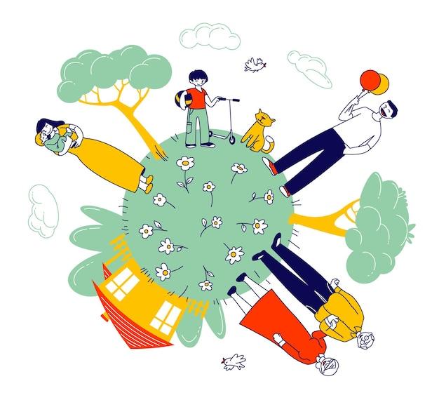Большая счастливая семья бабушек и дедушек, родителей и детей на глобусе зеленой земли с домом и зелеными деревьями вокруг. мультфильм плоский иллюстрация