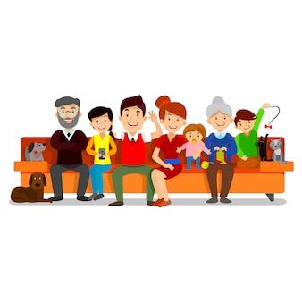 Big happy family sit on sofa.