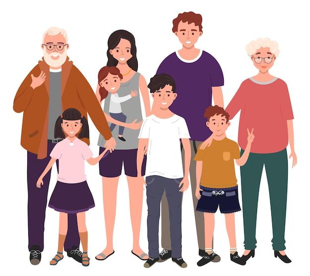 함께 큰 행복한 가족. 아버지, 어머니, 할아버지, 할머니와 아이들. 삽화
