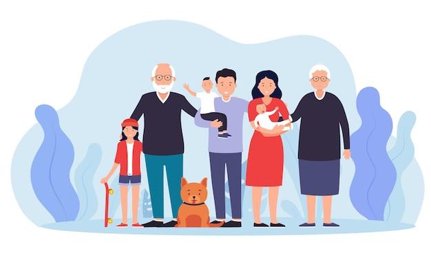 함께 큰 행복한 가족입니다. 어머니와 두 소년과 소녀, 할아버지와 할머니와 아버지.