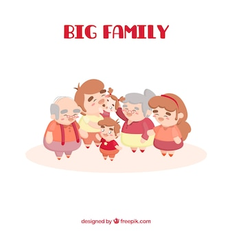 Big happy family with flat design