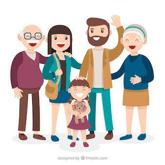 평면 디자인으로 큰 행복한 가족
