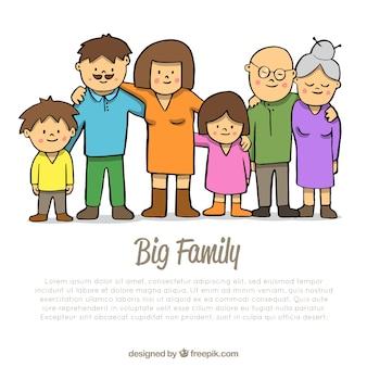 손으로 그린 스타일 큰 행복 한 가족