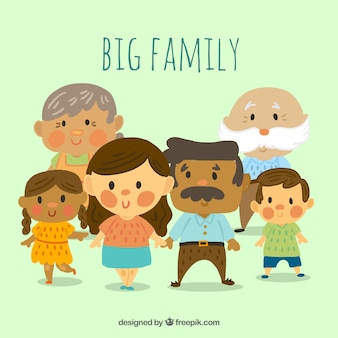 Big happy family with hand drawn style
