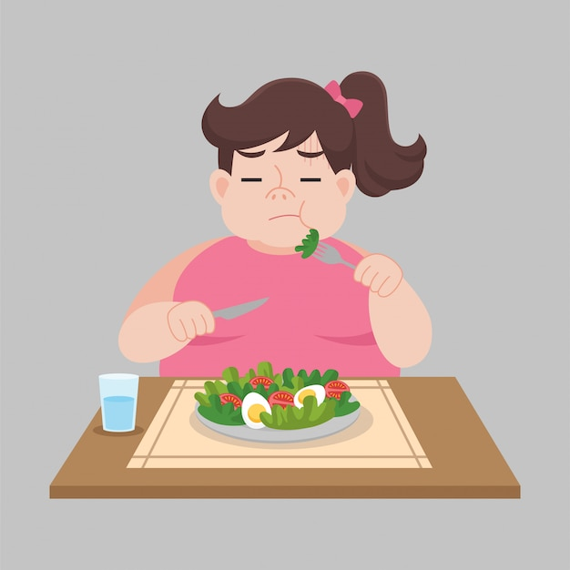 Big happy woman unhappy eat foods, salad, vegetable