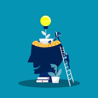 Big head human think growth mindset concept