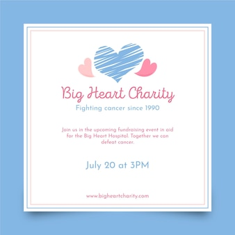 Big heart charity square flyer