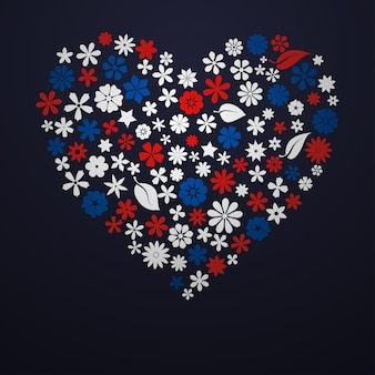 花と葉で構成された大きなハート、黒の背景に白、青、赤