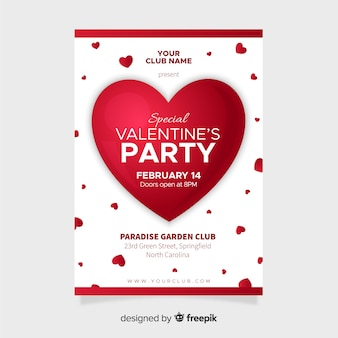 Big heart valentine party poster template