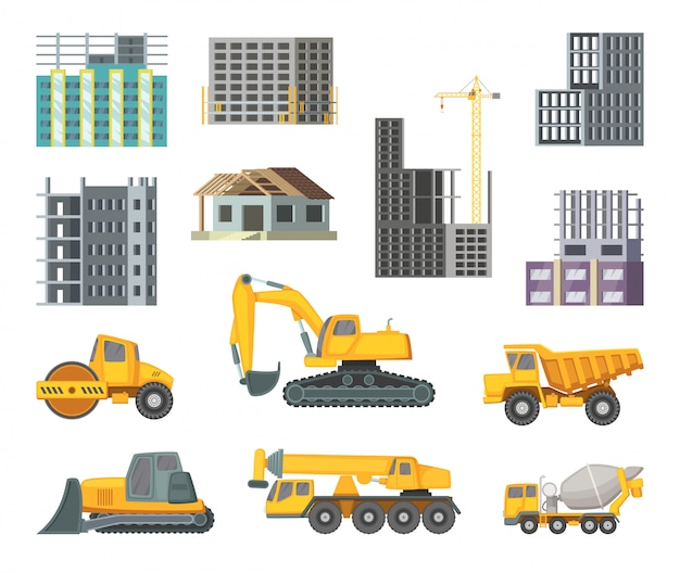 Big heavy yellow machines and modern buildings at construction stages.