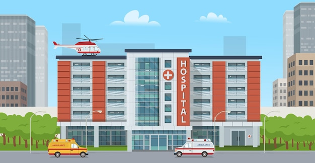 Big hospital with ambulance cars and a helicopte