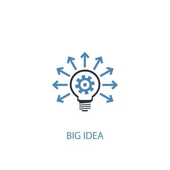 Big idea concept 2 colored icon. simple blue element illustration. big idea concept symbol design. can be used for web and mobile ui/ux