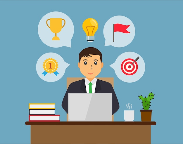 Big idea concept with man and light bulb. businessman