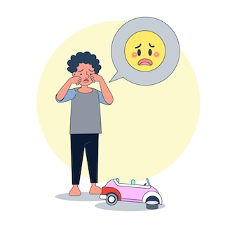 壊れたおもちゃの車のために泣いている大きな孤立した少年。白いvackgroundとイラストベクトル