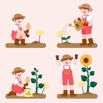 Grande isolato personaggio dei fumetti illustrazione di bambini svegli che fanno giardinaggio sul giardino fuori casa lato, illustrazione piatta