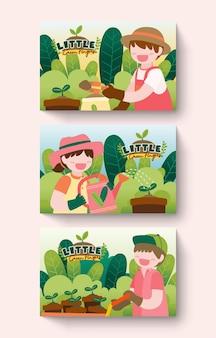 Grande isolato personaggio dei fumetti illustrazione di bambini svegli che fanno giardinaggio sul giardino fuori casa, illustrazione piatta