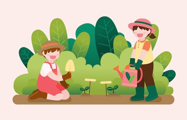 家の外の庭でガーデニングかわいい子供たちの大きな孤立した漫画のキャラクターイラスト、フラットなイラスト