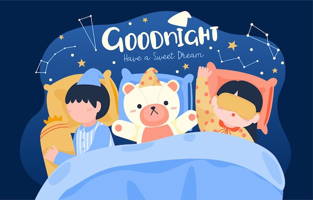 ベッドルームのベッドで寝ているかわいい子供たちの大きな孤立した漫画のキャラクターイラスト、フラットなイラスト