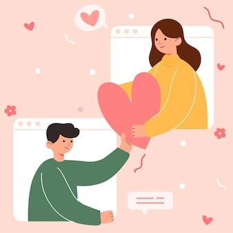 어린 소녀와 소년 사랑, 부부 공유 및 돌보는 사랑, 3d 일러스트의 큰 고립 된 만화
