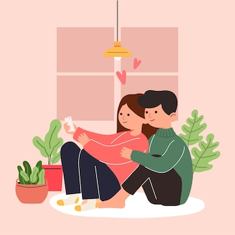 愛の若い女の子と男の子、カップルの共有と思いやりのある愛、3dイラストの大きな孤立した漫画