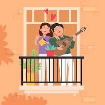 Grande fumetto isolato di giovane ragazza e ragazzo innamorato, condivisione di coppia e amore premuroso, suonare la chitarra 3d'illustrazione