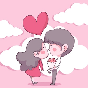 사랑에 큰 고립 된 커플, 행복 한 어린 소녀와 사랑에 소년
