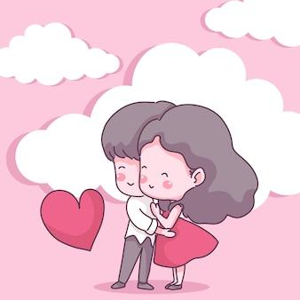 愛の大きな孤立したカップル、幸せな若い女の子と愛の少年