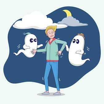 큰 절연 어린 소년은 밤에 두려움이 있기 때문에 잠을 잘 수 없습니다. 플랫 스타일의 벡터 일러스트 레이션