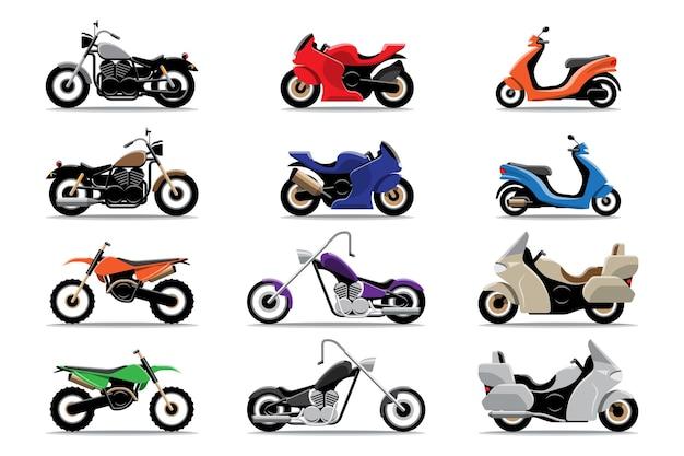 大きな孤立したオートバイのカラフルなクリップアートセット、さまざまなタイプのオートバイのフラットなイラスト。