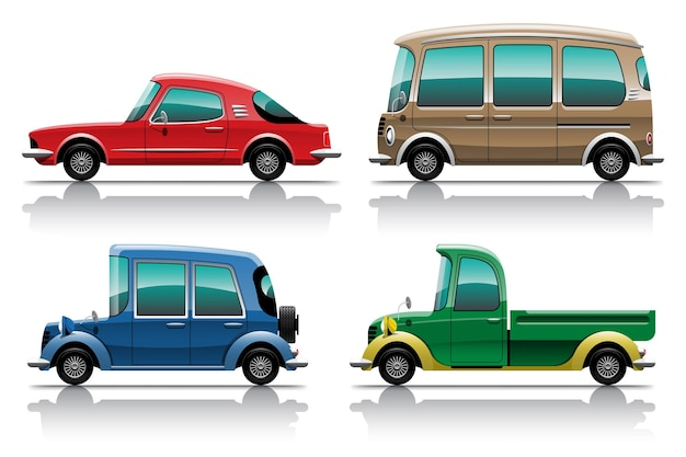 Big isolated vehicle colorful clipart set, flat illustrations of various type car.