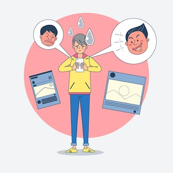 Grandi giovani isolati che discutono sui social media con diverse reazioni facciali.