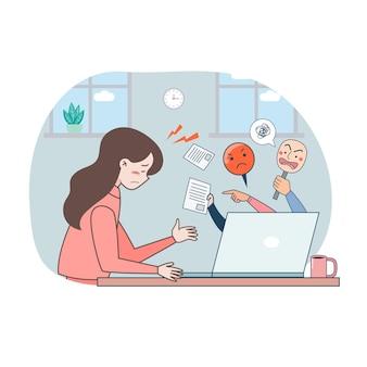 大きな孤立した若い女性は、ラップトップのテーブルで作業します。落ち込んで、漫画の文字ベクトルイラストを問題解決しようとしています。