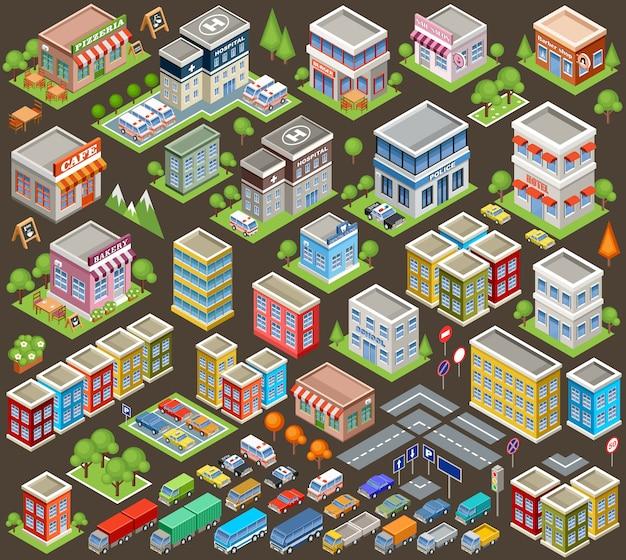 建物や家屋の大きな等尺性セット。インフラ。道路と車。