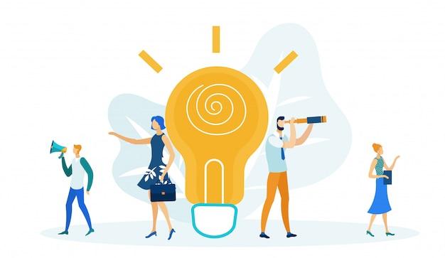 Big light bulb, generating ideas in business,