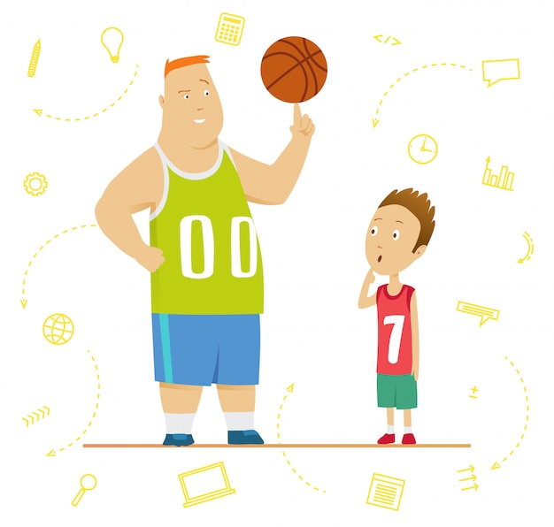Big and little schoolboys at a physical education lesson. senior and junior programmers concept. big and small business concept. vector illustration