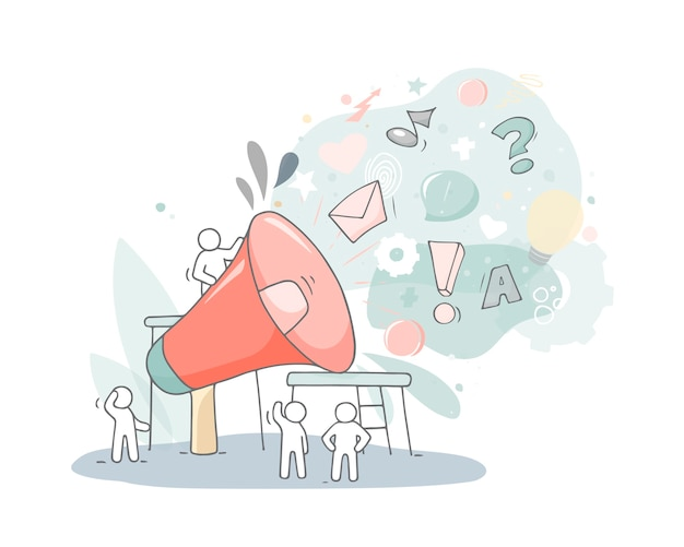Big loudspeaker with working little people. doodle cute miniature about business and teamwork. hand drawn cartoon vector illustration.