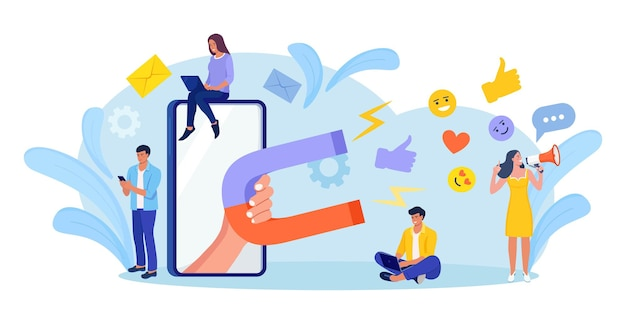 Big magnet attracts likes, good reviews, rating, followers. social influencer. media content to grab feedback from audience. lead generation. satisfaction and loyalty analysis. attracting customers