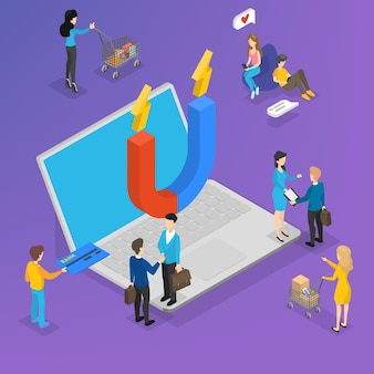 Большой магнит на портативном компьютере, привлекающем клиентов. маркетинговая стратегия для удержания клиентов и повышения лояльности. общение с клиентом. изометрическая иллюстрация