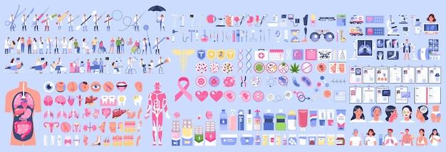 Big medical equipment set on blue background