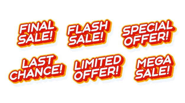 Big mega sale, special offer set red and yellow text effect template with 3d type style
